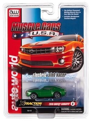 Auto World Xtraction R30 2010 Chevrolet Camaro SS (Green) HO Scale Slot Car