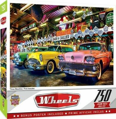 WHEELS THREE BEAUTIES - 750 PIECE JIGSAW PUZZLE BY LINDA BERMAN