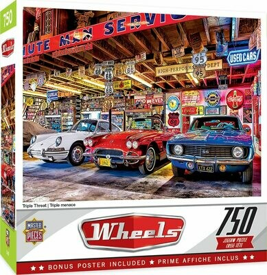 WHEELS TRIPLE THREAT - 750 PIECE JIGSAW PUZZLE BY LINDA BERMAN