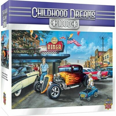 CHILDHOOD DREAMS HOT RODS AND MILKSHAKES -1000 PIECE JIGSAW PUZZLE BY DAN HATALA