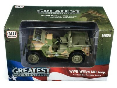 Auto World 1941 Jeep Willys (Olive-Drab WWII Medic) 1:18 Scale