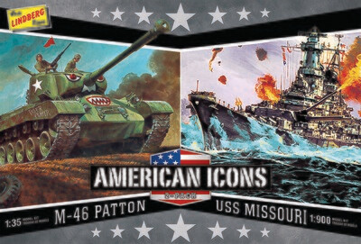 Lindberg WWII (M-46 Patton Tank & U.S.S. Missouri) USA Icons - 2 Pack