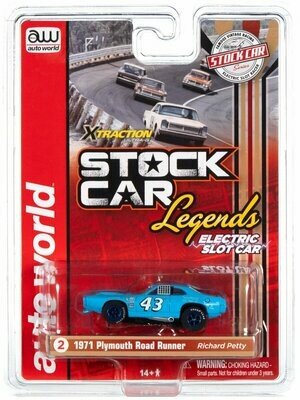 AUTO WORLD XTRACTION R31 1971 PLYMOUTH ROAD RUNNER - SOUTHERN - RICHARD PETTY HO SCALE SLOT CAR