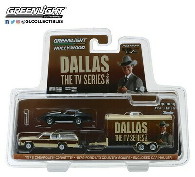 Greenlight - Hitch & Tow Series 6   1979 Ford LTD Country Squire with 1978 Chevrolet Corvette C3 in Enclosed Car Hauler- Dallas (TV Series, 1978-91)