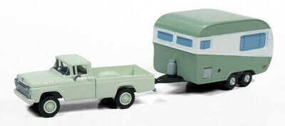 Classic Metal Works 1960 Ford Pickup 4x4 w/1950's Camper Trailer 1:87 HO Scale