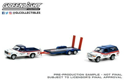 Hitch & Tow - Ford F-150 Pickup Truck and Ford Bronco with Flatbed Trailer BFGoodrich. 1:64 scale diecast collectible model car.