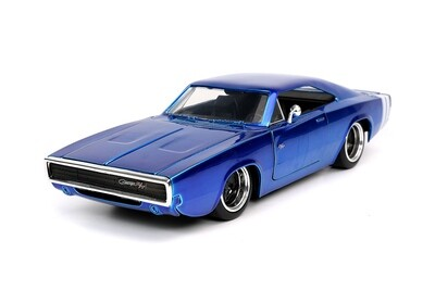 Jada Toys Bigtime Muscle | 1968 Dodge Charger R/T Hardtop. 1:24 scale diecast model car. (Blue)