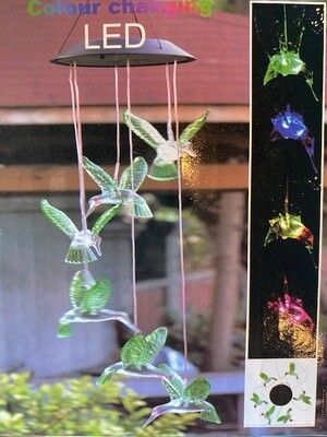 Solar Color Changing Hummingbird Wind Chime