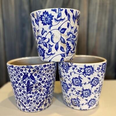 Ceramic Pots - Blue & White (set of 3)