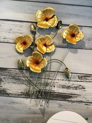 Yellow Poppies Metal Wall Art