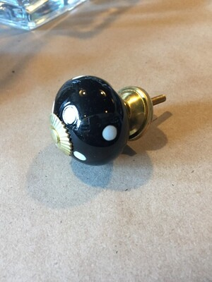 Knob - Black with white polka dots and gold accents
