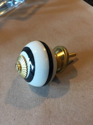 Knob - White with Black Stripes and Gold Accents