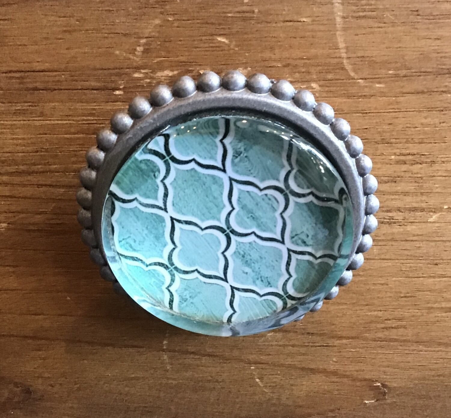 Knob - Green with White and Grey with Metallic Edge