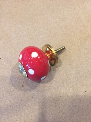 Knob - Red with White Polka Dots