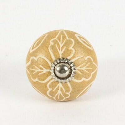 Knob - Lisa Leaf Motif ceramic with Embellishment