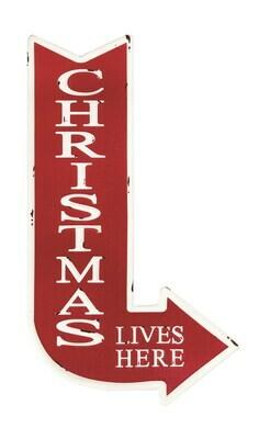 Christmas Lives Here Metal Sign