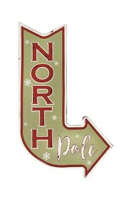 North Pole metal wall sign