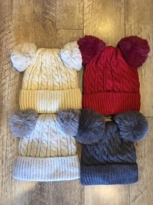 Double Pom Pom Hat - Fleece Lined