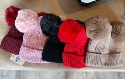 Kids Double Pom Pom Hat - Fleece Lined