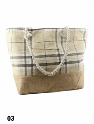 Canvas Plaid Shoulder Tote -  Grey and Brown