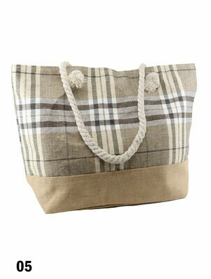 Canvas Plaid Shoulder Tote -  Brown and Beige