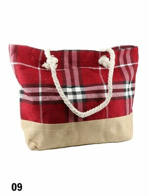 Canvas Plaid Shoulder Tote -  Red Plaid