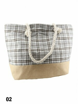 Canvas Plaid Shoulder Tote -  Light Beige