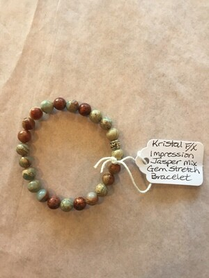 Impression Jasper Mix Gem Stretch Bracelet - small