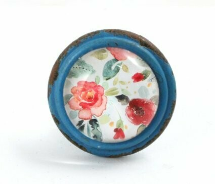 Knob - Blue with flowers
