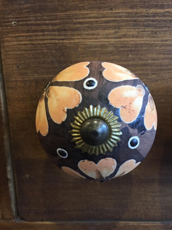 Knob - Brown with Orange Flowers