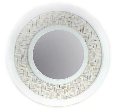White Wooden Weave Mirror