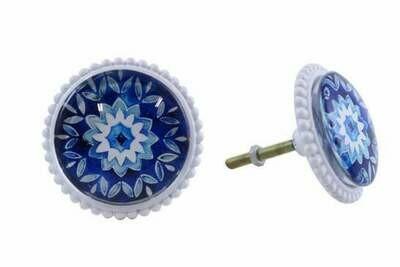 Knob - Blue Flower with White Metallic Edge