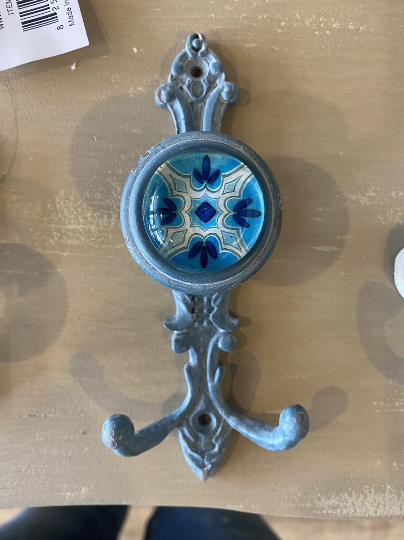 Hook - Ceramic Cast Iron Blue Double Robe