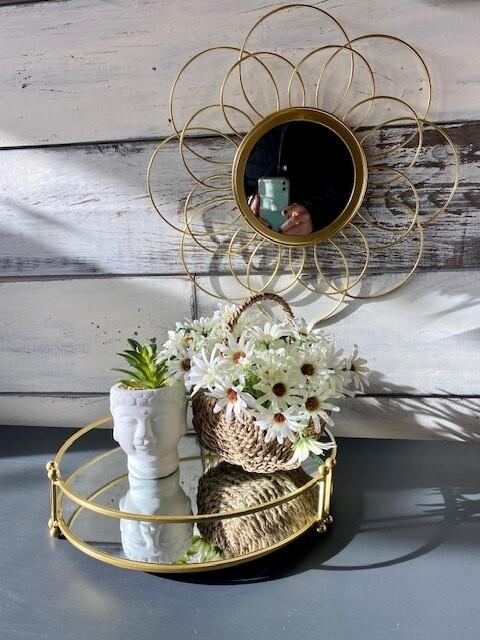 Round Gold Mirror Tray