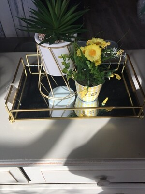 Rectangle Gold Mirror Tray