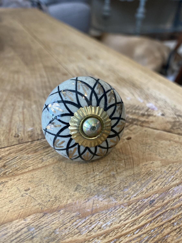 Knob - Ceramic Gold and Black