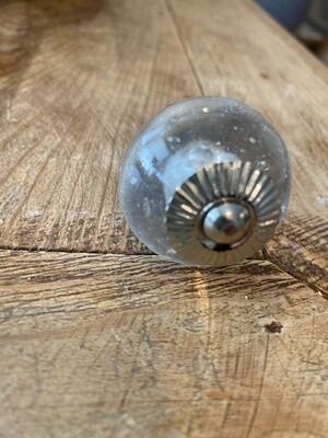 Knob - Glass Clear End Cap Nickel Finish