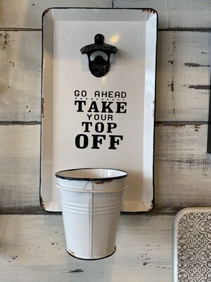 Metal Plaque Bottle Opener with Pail