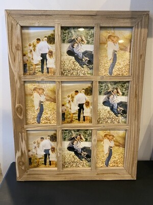 9 Opening Collage Frame - Natural Wood