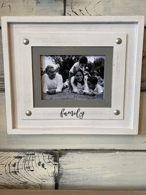 Family Wooden White Frame