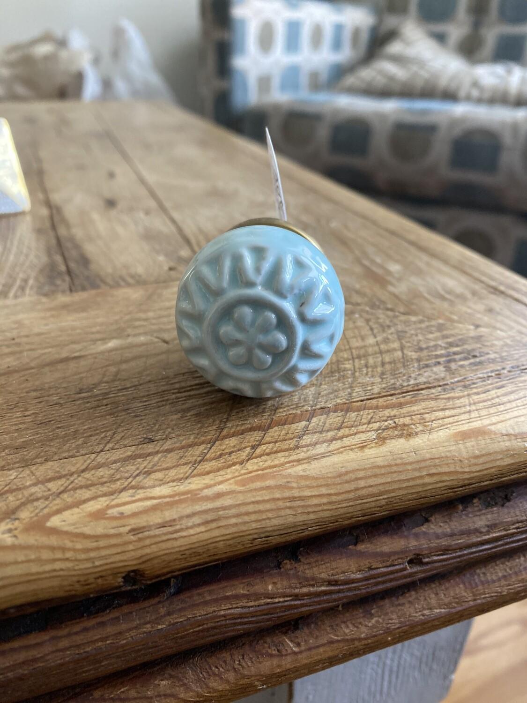 Knob - Aqua Ceramic Embossed