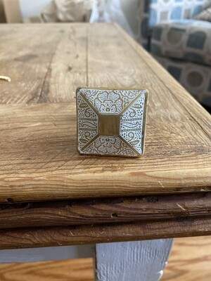 Knob - Brass Etched Floral Square