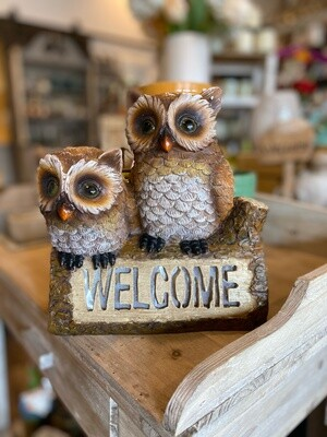 Solar Powered Welcome Owls