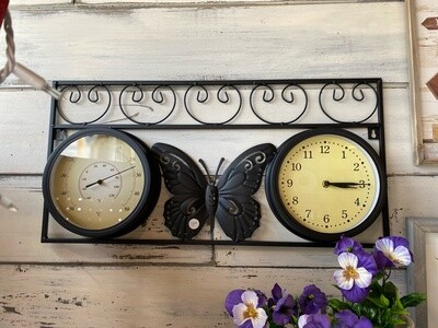 Outdoor thermometer and clock