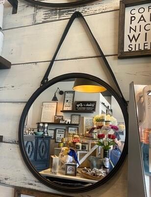 Round Suedette strap hanging Mirror