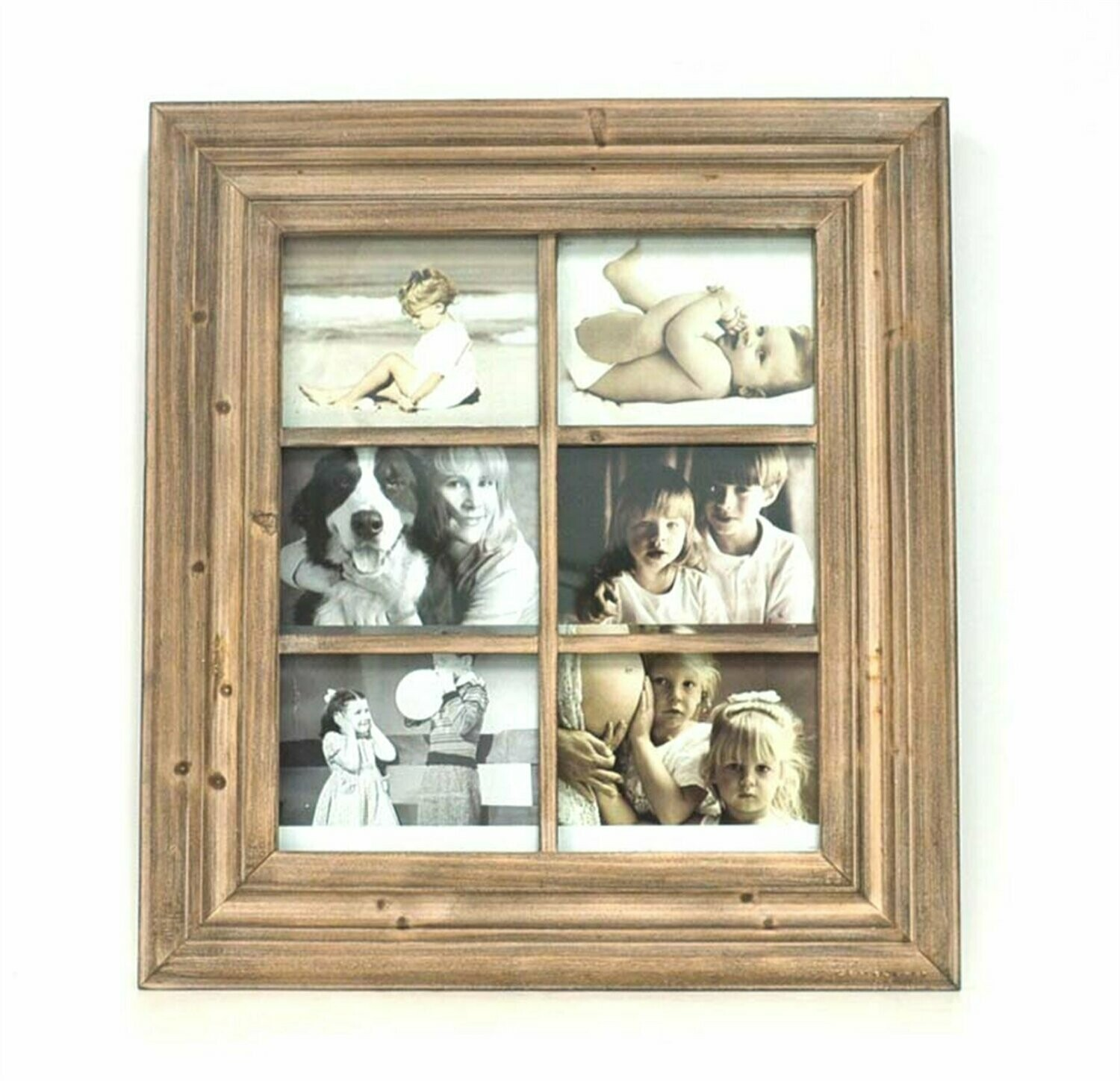 6 (5 x 7) Opening Collage Frame - Natural Wood