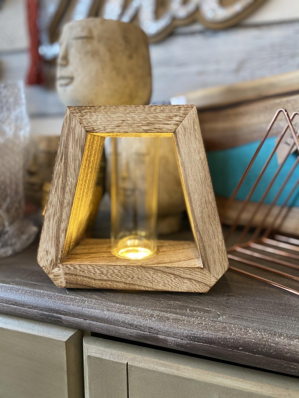 Wood and glass tube table top decor
