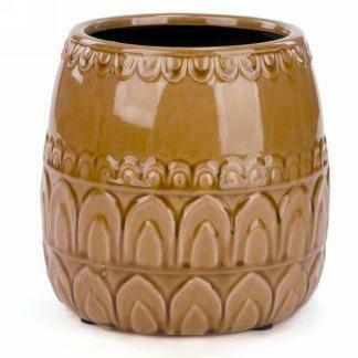 "Mustard Yellow Ceramic Pot - 7"""