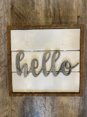 Wooden hello sign - large
