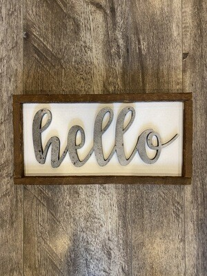 Wooden hello sign - small